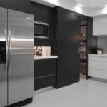 Hidden Butler Pantry in Charcoal Matt wood grain combined beautifully with white 2Pac gloss
