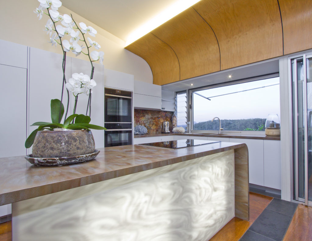 Amazing Custom Curves With A Stunning Corian Benchtop And Back Lit Panel  With Kchen Shop